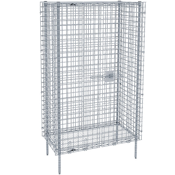 """Metro SEC63S Stainless Steel Stationary Wire Security Cabinet 38 1/2"""" x 33 1/2"""" x 66 13/16"""""""