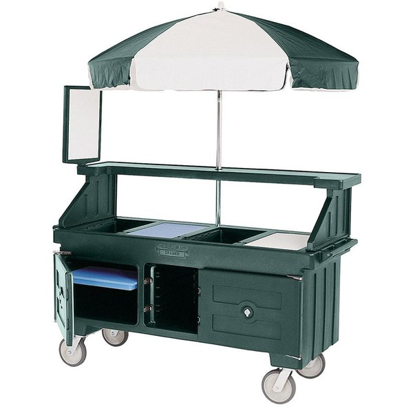 Cambro CVC72519 Camcruiser Green Vending Cart with Umbrella and 3 Counter Wells Main Image 1