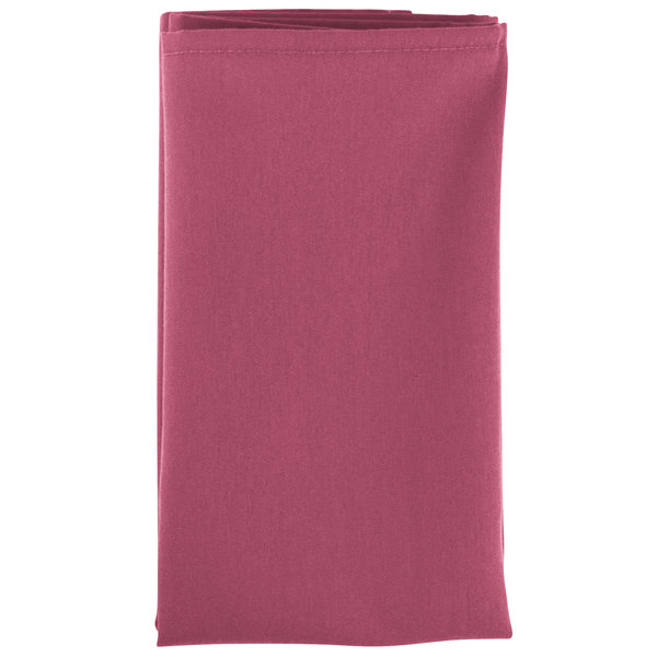 20 inch x 20 inch Mauve Hemmed Polyspun Cloth Napkin - 12/Pack
