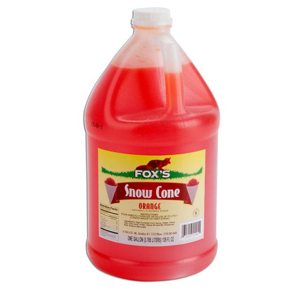 Fox's 1 Gallon Orange Snow Cone Syrup - 4/Case