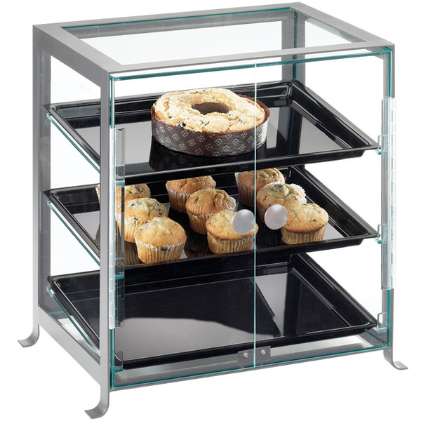 "Cal-Mil 1575-S-74 Soho Three Tier Silver Display Case with Front Doors - 21 1/4"" x 15 3/4"" x 20 3/4"""