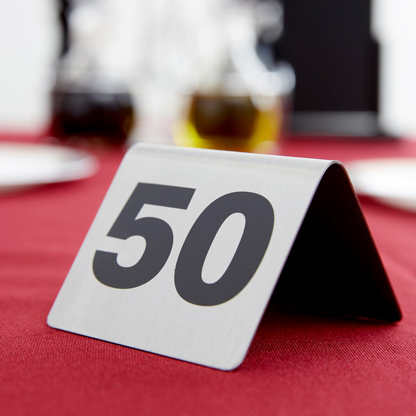 Tablecraft T150 1 to 50 Stainless Steel Table Tent Number