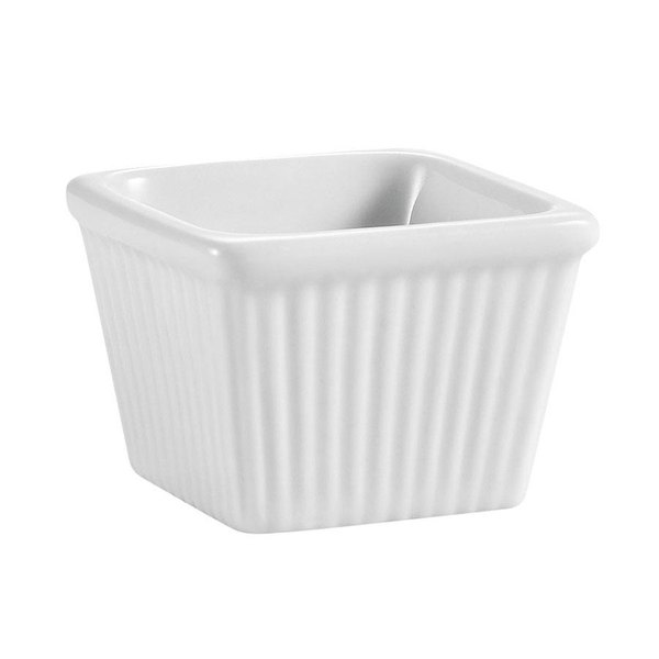 CAC RKF-SQ6 6 oz. White China Square Fluted Ramekin - 36/Case Main Image 1