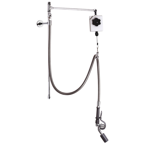 """T&S B-0126-R 28 3/4"""" High Pre-Rinse Faucet Retrofit Kit with Angled Low Flow Spray Valve, Balancer, 68"""" Hose, and 6"""" Wall Bracket"""
