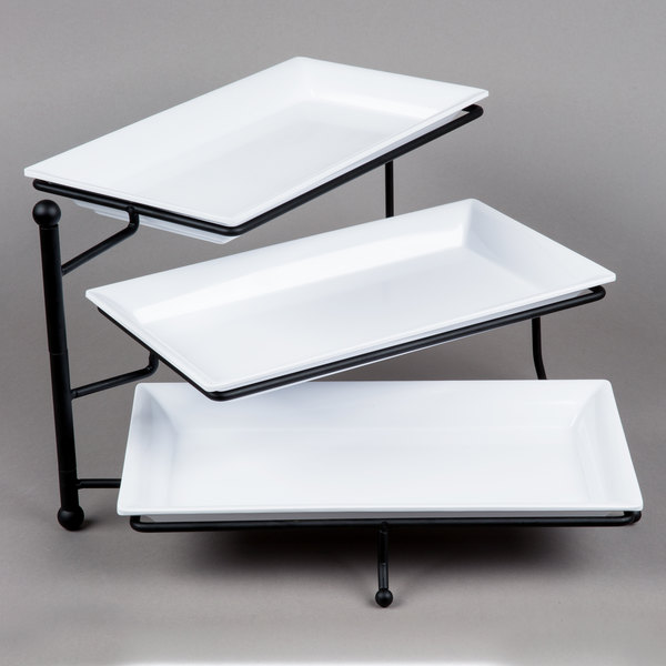 Amazing American Metalcraft Ttmel3 Ironworks Three Tier Foldable Rectangular Display Stand With Melamine Platters Beutiful Home Inspiration Cosmmahrainfo