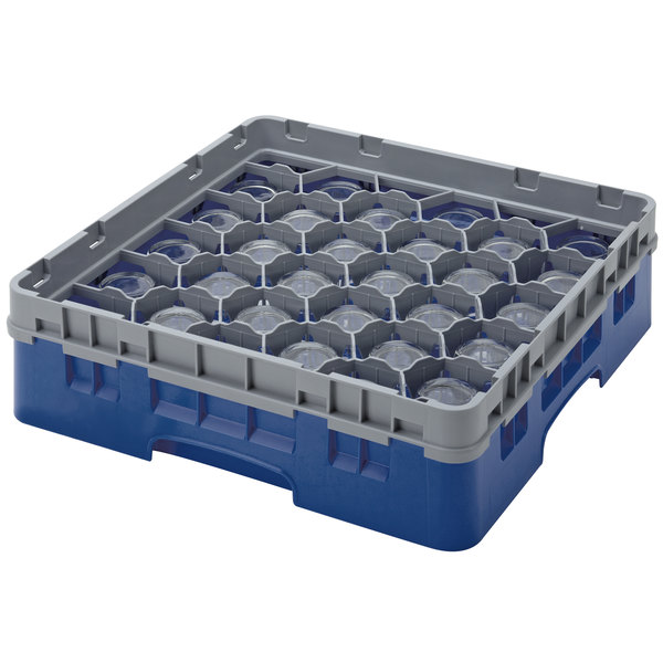 "Cambro 30S800186 Navy Blue Camrack Customizable 30 Compartment 8 1/2"" Glass Rack Main Image 1"