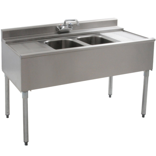 """Eagle Group B4C-2-22 48"""" Underbar Sink with Two Compartments and Two Drainboards"""