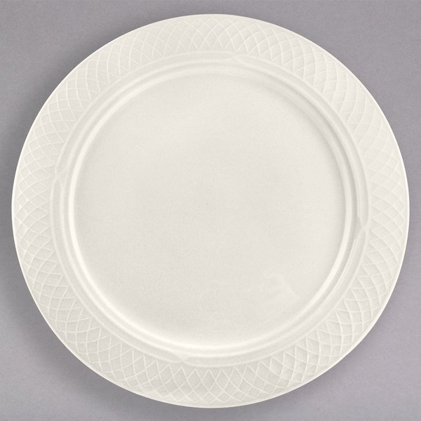 "Homer Laughlin 3397000 Gothic 10 5/8"" Ivory (American White) China Plate - 12/Case"