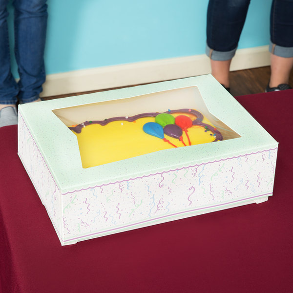 "Southern Champion 2446 14"" x 10"" x 4"" Auto-Popup Window Cake / Bakery Box with Confetti Design - 100/Bundle"