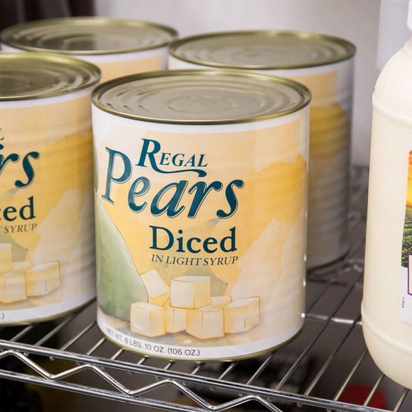 Regal Foods #10 Can Diced Pears in Light Syrup