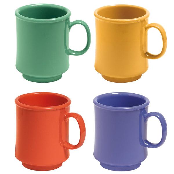 GET TM-1308-MIX Mardi Gras 8 oz. Tritan Stacking Mug, Assorted Colors - 24/Case
