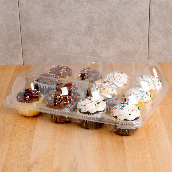 12 Compartment Clear Hinged High Dome Cupcake Container - 100/Case
