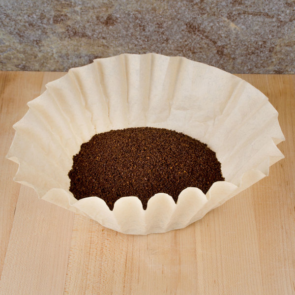 """9 3/4"""" x 4 1/2"""" Unbleached Natural Coffee Filter 12 Cup - 1000/Case"""