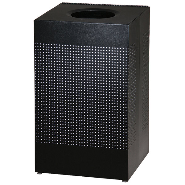 Rubbermaid FGSC18EPLTBK Silhouettes Black Steel Designer Waste Receptacle - 40 Gallon