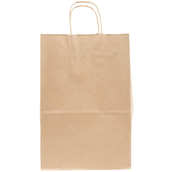 Duro Kary 9 inch x 5 3/4 inch x 13 1/2 inch Brown Shopping Bag with Handles - 250/Bundle