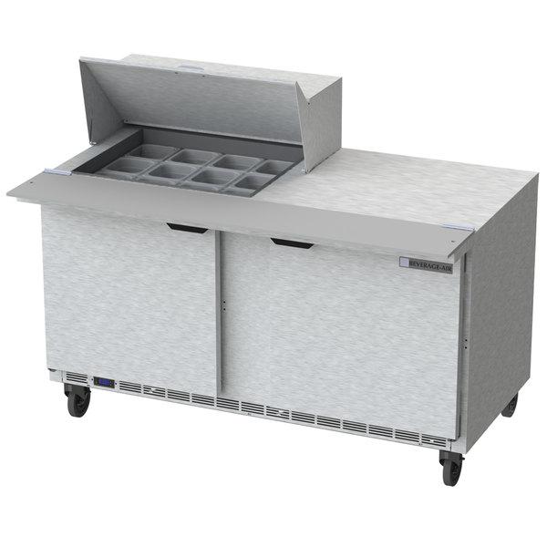 "Beverage-Air SPE60HC-12M 60"" 2 Door Mega Top Refrigerated Sandwich Prep Table"