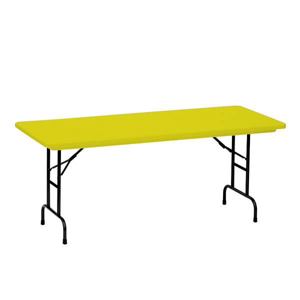 correll adjustable height folding table 30 x 72 plastic yellow standard legs r series ra3072. Black Bedroom Furniture Sets. Home Design Ideas