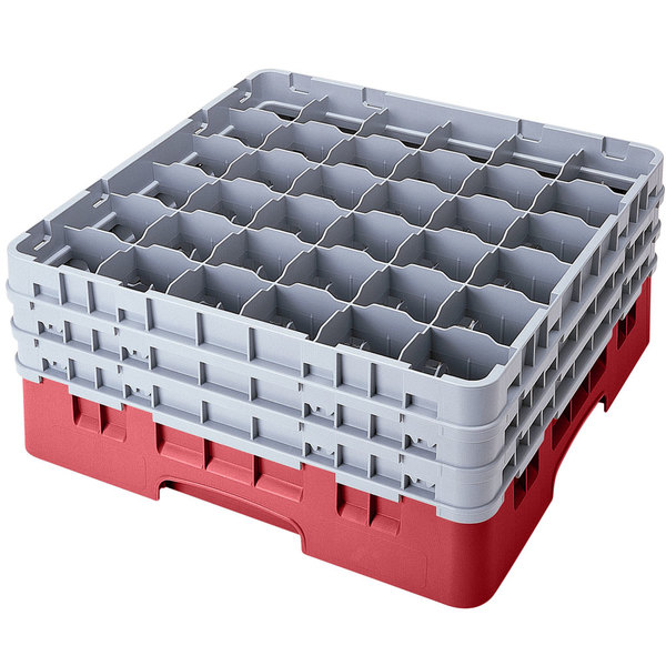 "Cambro 36S958416 Cranberry Camrack Customizable 36 Compartment 10 1/8"" Glass Rack"