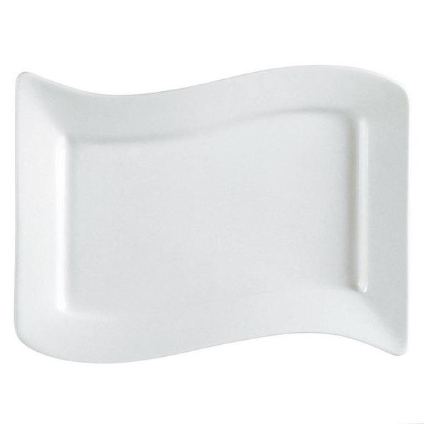 "CAC SOH-14 Soho 13 1/2"" x 8 7/8"" Ivory (American White) Rectangular Stoneware Platter - 12/Case Main Image 1"