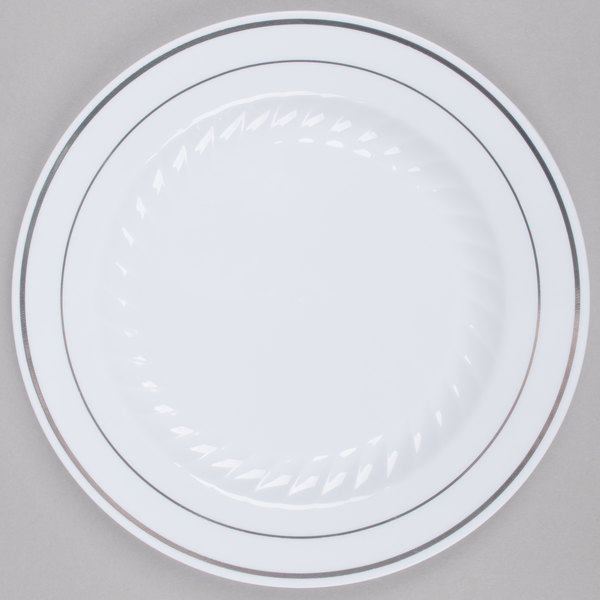 Made of heavy weight plastic this strong and sturdy Fineline Silver Splendor 507-WH 7  white plastic plate is perfect for wedding receptions and luncheons.  sc 1 st  WebstaurantStore & Fineline Silver Splendor 507-WH 7