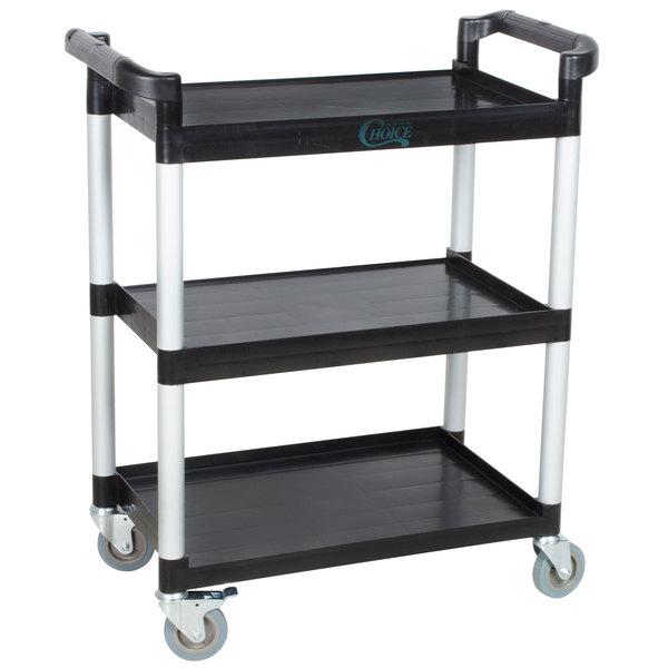 "Choice Black Utility / Bus Cart with Three Shelves - 32"" x 16"" Main Image 1"