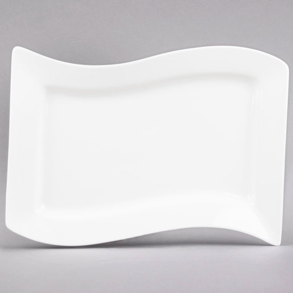 "CAC MIA-12 Miami 10 1/2"" x 6 3/4"" Bone White Rectangular Porcelain Platter - 24/Case Main Image 1"