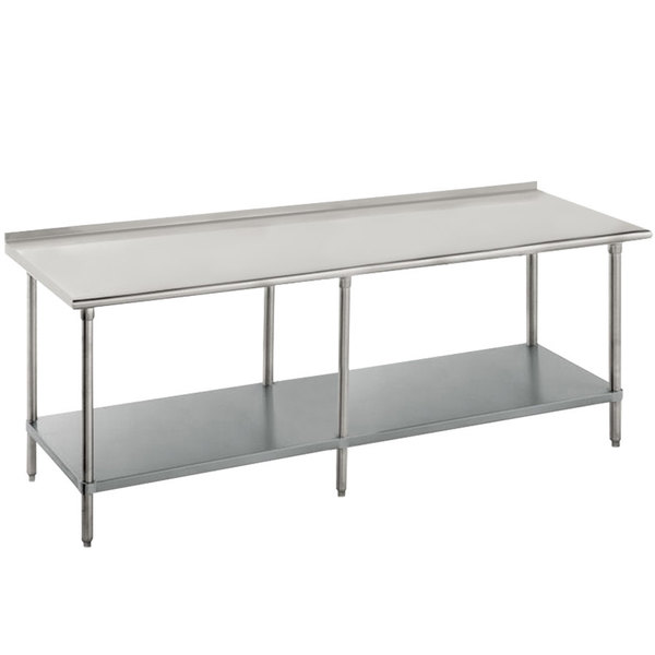 "Advance Tabco FMG-368 36"" x 96"" 16 Gauge Stainless Steel Commercial Work Table with Undershelf and 1 1/2"" Backsplash"