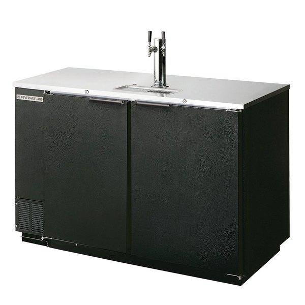 Beverage-Air DD78R-1-B (2) Double Tap Kegerator Beer Dispenser, Remote Condenser - Black, (4) 1/2 Keg Capacity