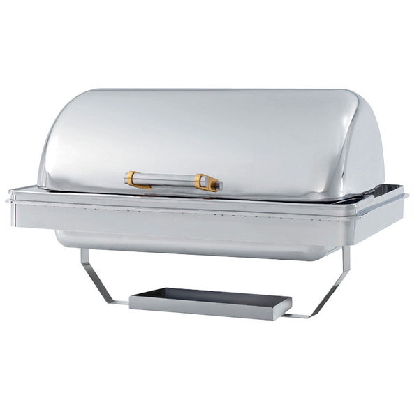 Vollrath 46258 9 Qt. New York, New York Drop-In Retractable Dripless Chafer Full Size with Brass Trim Main Image 1