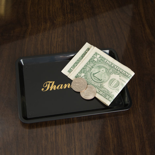 """6 1/2"""" x 4 1/2"""" Black and Gold Thank You Tip Tray"""