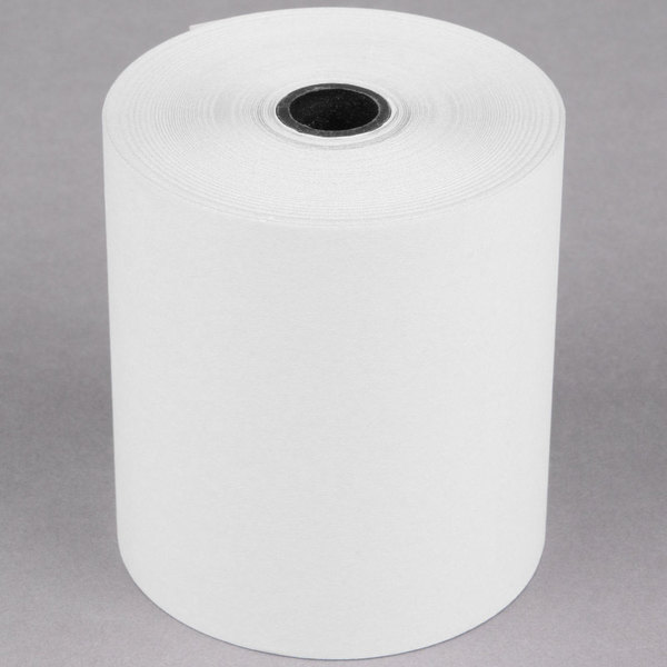 "Point Plus 3"" x 90' Carbonless 2-Ply Cash Register POS Paper Roll Tape - 5/Pack Main Image 1"