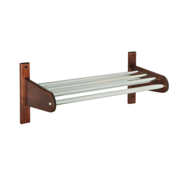 "CSL TFXMB-2532M 30"" Mahogany Frame Wall Mount Coat Rack with Metal Interior Top Bars with 5/8"" Hanging Rod"