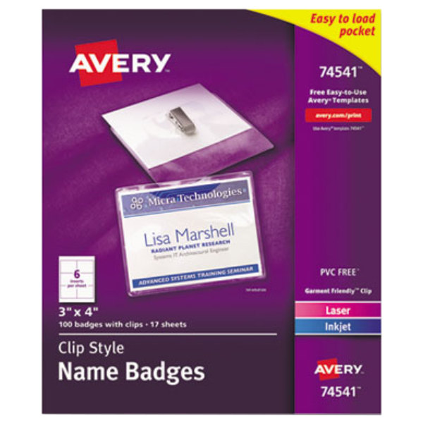 """Avery 74541 4"""" x 3"""" White Horizontal Laser / Ink Jet Name Badge and Top-Loading Clip Holders - 100/Box"""