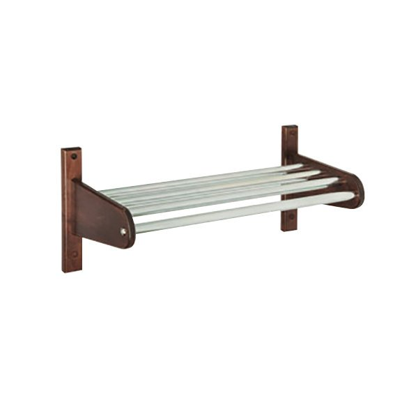 "CSL TFXMB-1824CM 24"" Cherry Mahogany Frame Wall Mount Coat Rack with Metal Interior Top Bars with 5/8"" Hanging Rod"