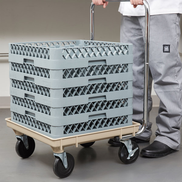 """Vollrath Traex® 21"""" x 21"""" Beige Recycled Rack Dolly with 30"""" Chrome-Plated Handle and Two Locking Casters Main Image 5"""
