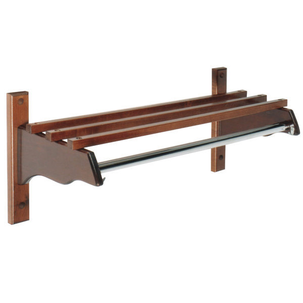 "CSL TJF-3336M 36"" Mahogany Hardwood Top Bars Wall Mount Coat Rack and 1"" Metal Hanging Rod"