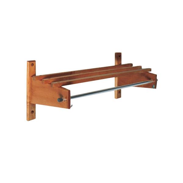 "CSL TSO-1824D 18"" Dark Oak Hardwood Top Bars Wall Mount Coat Rack with 5/8"" Metal Hanging Rod"
