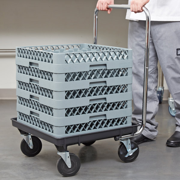 """Vollrath Traex 21"""" x 21"""" Black Recycled Rack Dolly with 30"""" Chrome-Plated Handle and Two Locking Casters"""