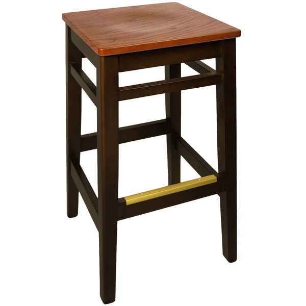 BFM Seating LWB680WAASH Trevor Walnut Beechwood Bar Stool with Autumn Ash Seat Main Image 1