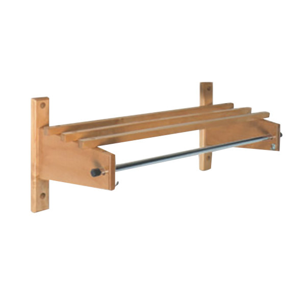 "CSL TCO-3748L 48"" Light Oak Hardwood Top Bars Wall Mount Coat Rack and 1"" Hanging Rod"