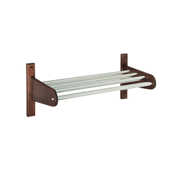 """CSL TFXMB-3336CM 36"""" Cherry Mahogany Frame Wall Mount Coat Rack with Metal Interior Top Bars with 5/8"""" Hanging Rod"""