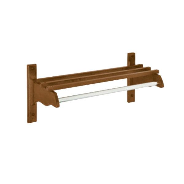 "CSL TJF-1824D 24"" Dark Oak Hardwood Top Bars Wall Mount Coat Rack and 1"" Metal Hanging Rod"
