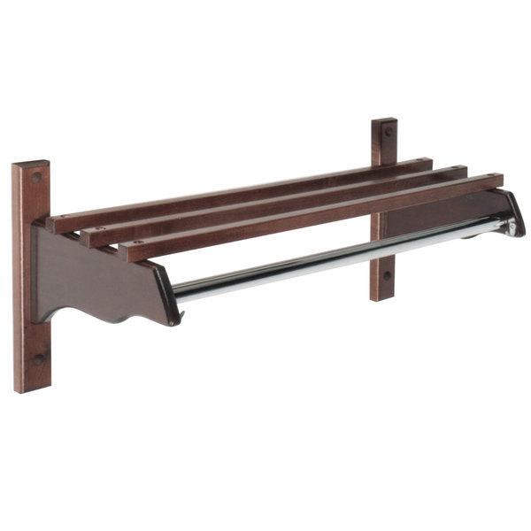"""CSL TJF-48D 48"""" Dark Oak Hardwood Top Bars Wall Mount Coat Rack and 1"""" Metal Hanging Rod Main Image 1"""