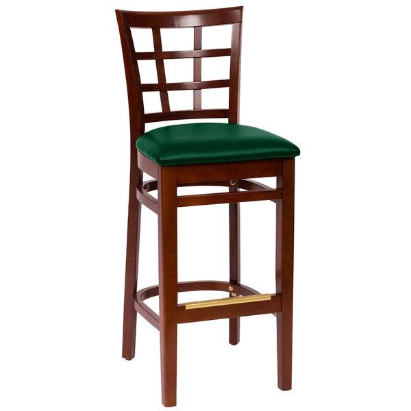 "BFM Seating LWB629MHGNV Pennington Mahogany Beechwood Bar Height Chair with Window Wooden Back and 2"" Green Vinyl Seat"