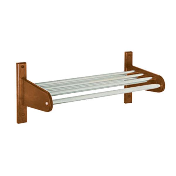 "CSL TFXMB-2532D 30"" Dark Oak Frame Wall Mount Coat Rack with Metal Interior Top Bars with 5/8"" Hanging Rod"