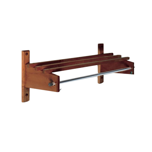 "CSL TSO-3742 42"" Mahogany Hardwood Top Bars Wall Mount Coat Rack with 5/8"" Metal Hanging Rod"