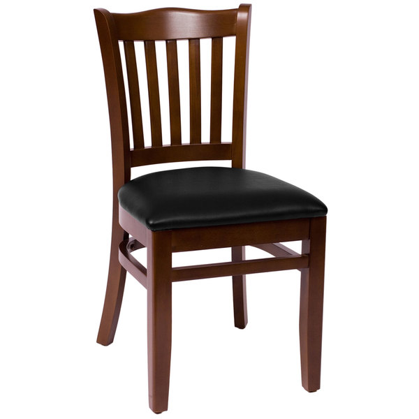 "BFM Seating LWC7218WABLV Princeton Walnut Beechwood School House Side Chair with 2"" Black Vinyl Seat Main Image 1"