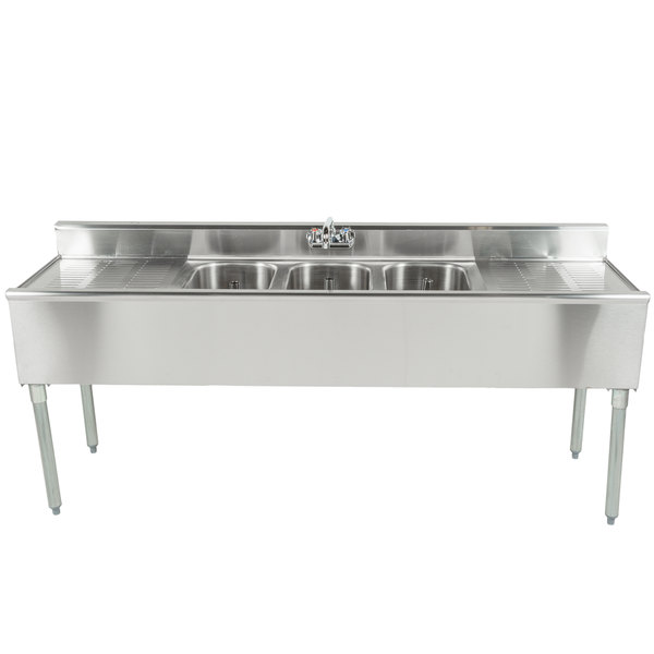 Eagle Group B6C-18 3 Bowl Bar Sink With Two 19\