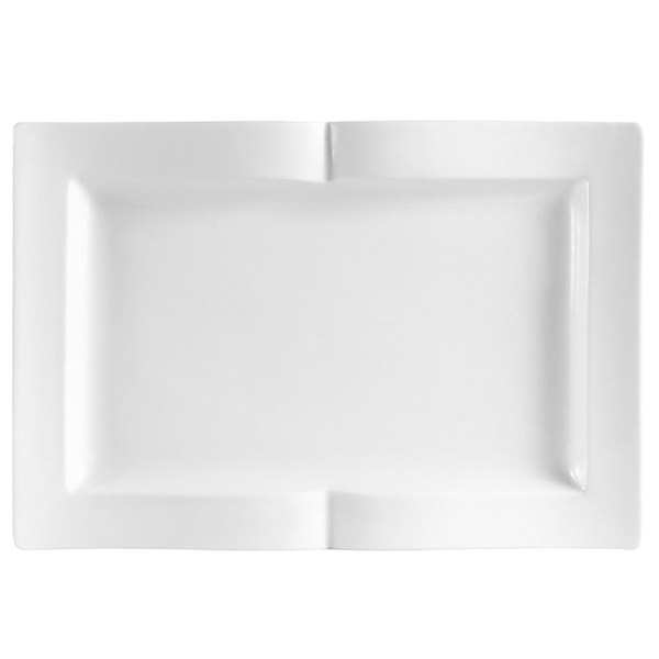"CAC GBK-14 Goldbook Bone White Book-Shaped China Serving Platter 13 1/2"" x 9 1/8"" - 12/Case Main Image 1"