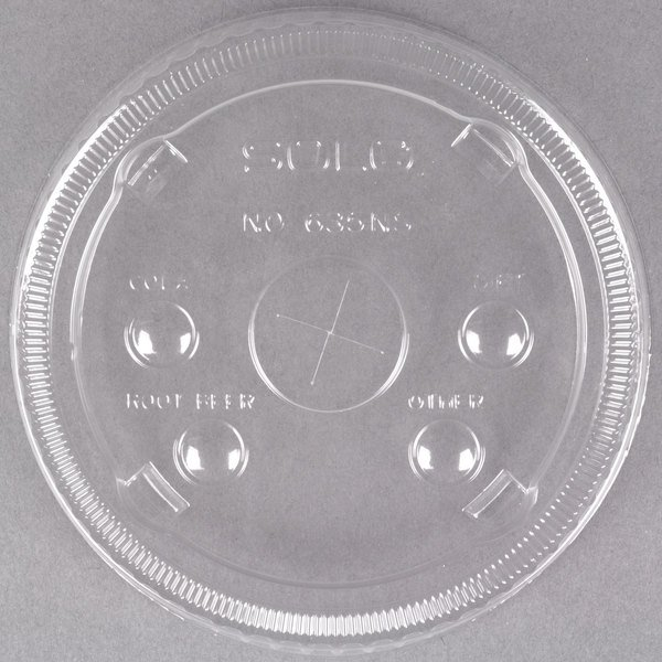 Dart Solo 635NS 28-32 oz. Clear Flat Plastic Lid with Straw Slot and Identification Buttons - 600/Case